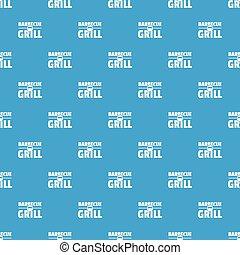 kék, grill, motívum, seamless, vektor, grillsütő