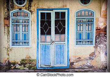 kék, grunge, ajtó