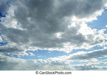 kék, gyönyörű, ég, noha, white felhő, alatt, napos nap