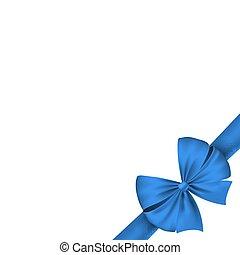 kék, gyönyörű, ünnepies, elszigetelt, bow., háttér., vektor, fehér, ünnep, szalag