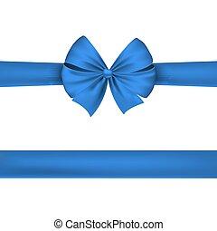kék, gyönyörű, ünnepies, elszigetelt, bow., háttér., vektor, white szalag