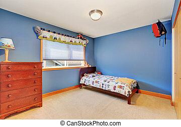 kék, gyerekek, szín, szüret, bugyi, láda, hálószoba