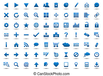 kék, háló, állhatatos, navigáció, ikonok