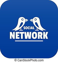 kék, hálózat, vektor, társadalmi, madár, ikon