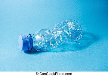 kék, háttér., eldobható, palack, műanyag