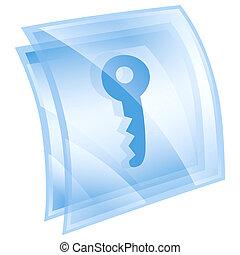 kék, háttér, elszigetelt, kulcs, fehér, ikon