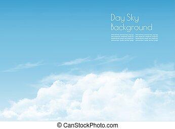 kék, háttér., vektor, ég, clouds.