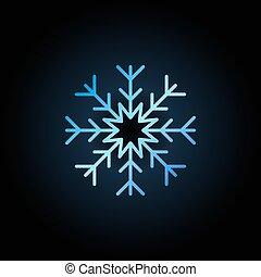 kék, hópehely, ikon