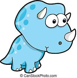 kék, hülye, dinoszaurusz, triceratops