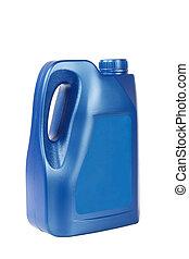 kék, hajtómű olaj, palack