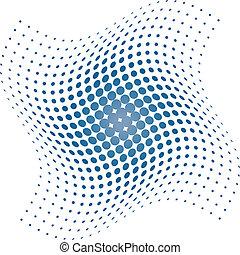 kék, halftone, ékezetez, háttér