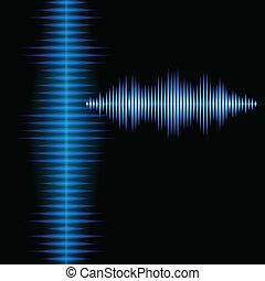 kék, hangzik, fényes, háttér, waveform