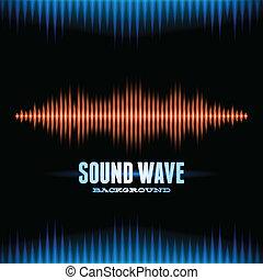 kék, hangzik, waveform, háttér, narancs, fényes