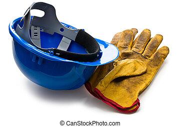 kék, hardhat, és, megkorbácsol, dolgozó, pár kesztyű