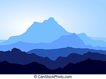 kék, hegyek