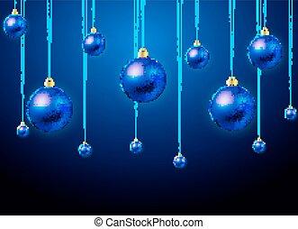 kék, herék, képben látható, a, karácsonyfa