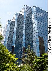 kék, hivatal, rosslyn, modern, virginia, szemüveg épület
