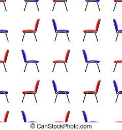 kék, hivatal szék, motívum, seamless, piros