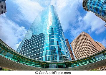 kék, houston, felhőkarcoló, ég, belvárosi, tükör, disctict