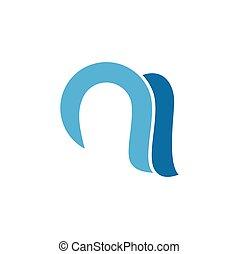 kék, hullámos, vektor, átmérő, kanyarok, levél, jel