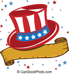kék, illlustration, patrióta, amerikai, vektor, white kalap...