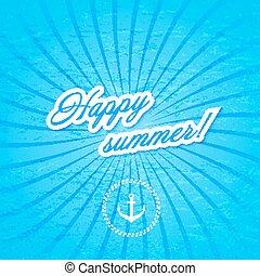 kék, illustration., vektor, háttér, water., anchor.
