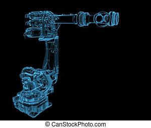 kék, ipari, (3d, transparent), robot, xray