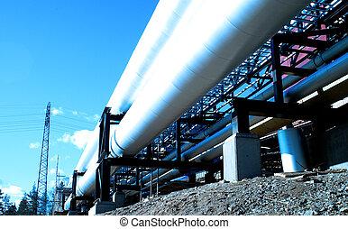 kék, ipari, csővezetékek, ellen, háttér, szigetelés, természetes
