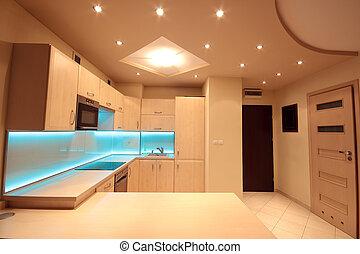 kék, irányított, modern, világítás, fényűzés, konyha