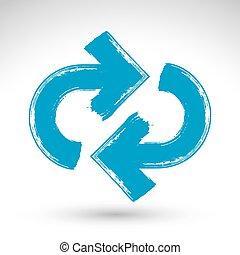 kék, ismétel, egyszerű, multimédia, korszerűsíteni, felfrissít, elszigetelt, háttér, ecset, kéz, jelkép., húzott, fehér, aláír, navigáció, rajz, icon., hand-painted