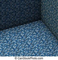 kék, isometric, render, hely, megkövez, cserép, mózesi, üres, 3