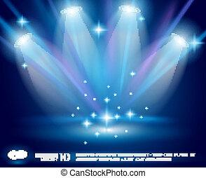 kék, izzó, küllők, varázslatos, reflektorfény, hatás