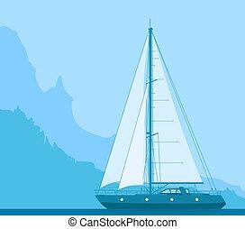 kék, jacht, vitorlázás