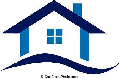 kék, jel, épület