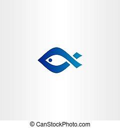 kék, jel, fish, vektor, ikon