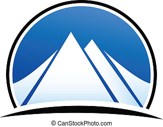 kék, jel, vektor, hegyek