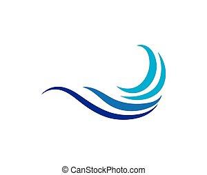 kék, jel, vektor, waves., tenger