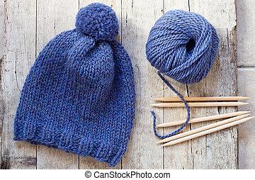 kék, kötés, mesél, ékek, kalap, gyapjú