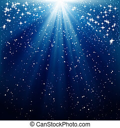 kék, küllők, háttér, hó, csillaggal díszít, fénylő, esés