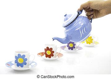 kék, kanna, és, teacups