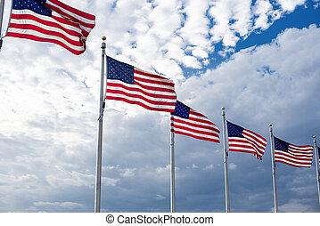 kék, kanyargás, amerikai, ég, zászlók