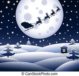 kék, karácsony, táj, csendes