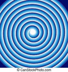 kék, karikák, motívum, elvont, motion., megvonalaz, spirál, hipnotikus, illúzió, forgó, hipnózis, látási, háttér, felteker, swirl., vagy, psychedelic, kör alakú