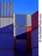 kék, kazalba rakott, hajózás, tároló