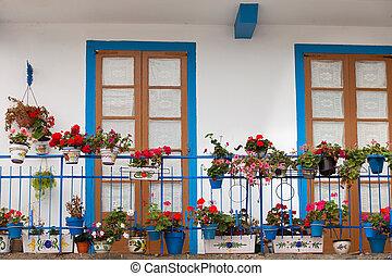 kék, kedves, ajtók, erkély