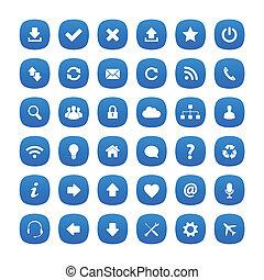 kék, kerek, derékszögben, ikonok