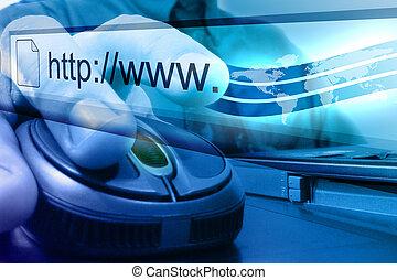 kék, keres, egér, internet