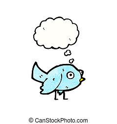 kék, kevés, madár, karikatúra