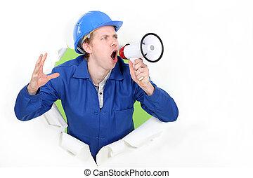 kék, kiabálás, hangfal, gallér