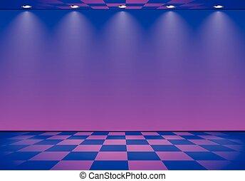 kék, kockás, szoba, emelet, bíbor, felett, lenget, fal, címzett, 80, gőz